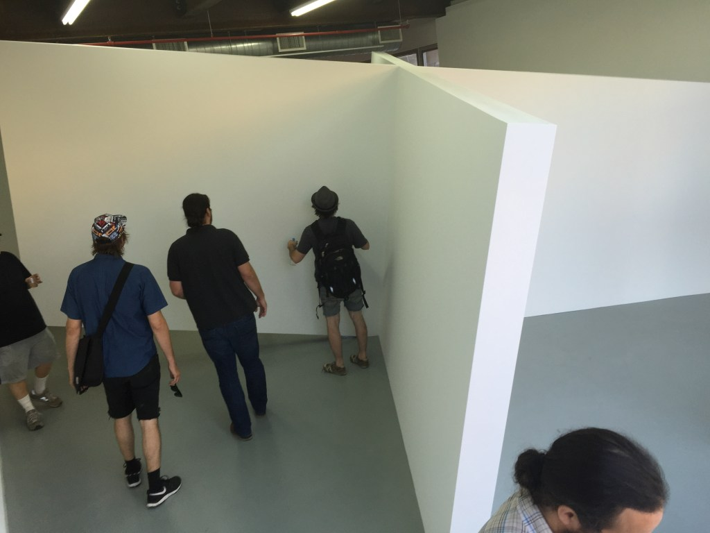 Visitors engage with X Never Marks the Spot by Thomas Lendvai; photo courtesy of ODETTA