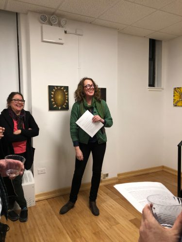 Elisa Jensen speaking about the exhibition the night of the opening