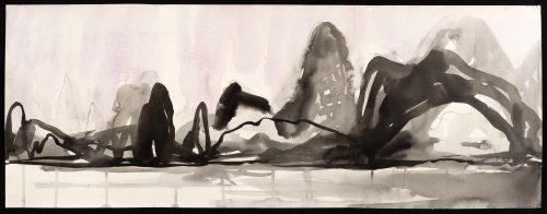 Melanie Kozol Karst, watercolor, sumi-e on paper, 18x48in, 2016