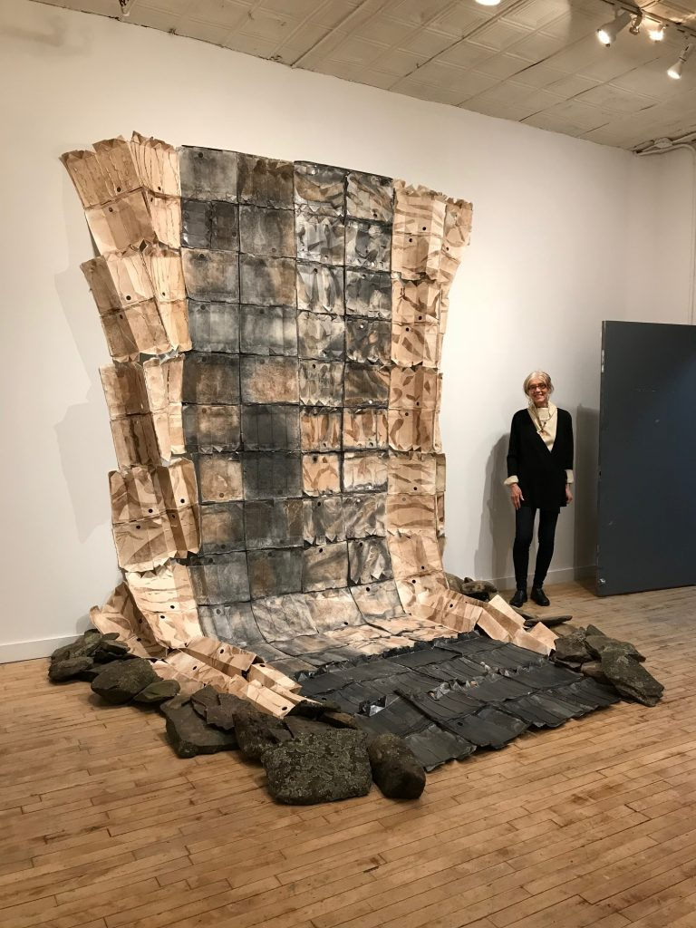Ruth Hardinger, Earth and My New York Rocks, 2018, earth, graphite, milk cartons, shale rocks, 17'x9'x8""
