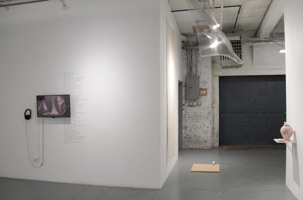 The process of calculating one's position, 2019 (Installation view with works by Martin Vongrej, Jiin You, Tavi Meraud and Ella Weber). Photo courtesy: NARS Foundation